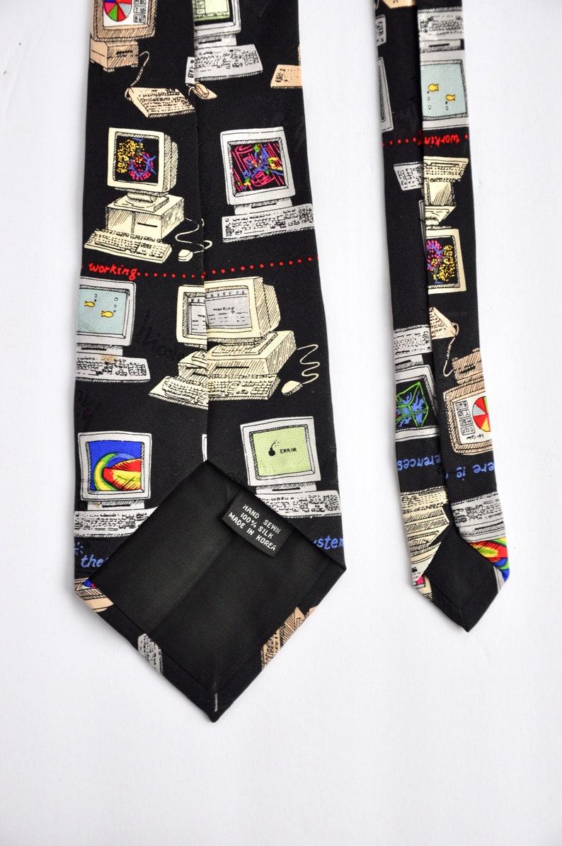 Designer Menswear Novelty Technology Pattern AI Big Data Gift for Him Geek Nerd Vintage Box Computer 1990s Silk Tie by Nicole Miller