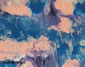 Monet's Lilly Pads -- Abstract Acrylic & Ink Mixed Media on Paper 5x7 in. Framed