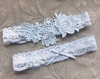 Pearl Bridal Belt HK89NU8 Garter Lace Garter Bridal Garter Set Wedding Garter Set w Light Blue Bow Wedding Garter Blue Wedding Garter