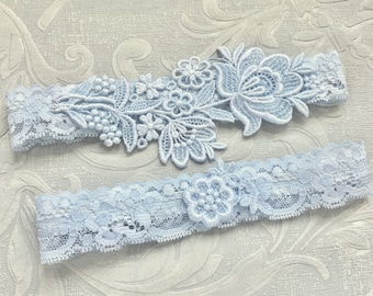 1dda1fd7b Blue Lace Wedding Garter Set