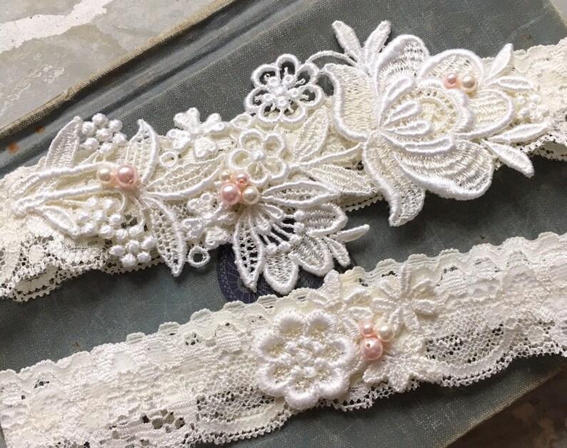 c18626181 Lace Wedding Garter Set with Pink Pearl Beading Ivory Garter