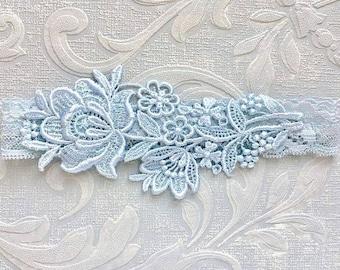"""Blue Lace Bridal Garter, Blue Garter, Bridal Garter, Lace Wedding Garter, Elegant Garter, Garter, Simple Garter, Bridal Shower Gift """"Flora"""""""