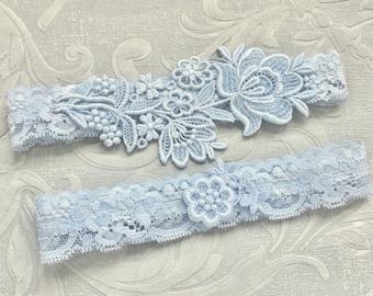 """Blue Lace Wedding Garter Set, Blue Garter Set, Lace Garter, Toss Garter, Simple Lace Garters - Available in Ivory or White - """"Flora"""""""