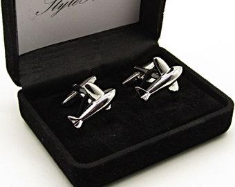 gift for groomsmen Silver Transport Aircraft Cufflinks aviation cufflinks novelty cufflinks helicopter cufflinks gift for dad