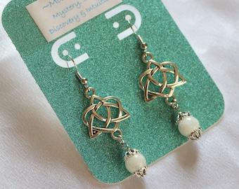 b26e6b9d8 Celtic Knot Moonstone Crystal Stone Drop Earrings