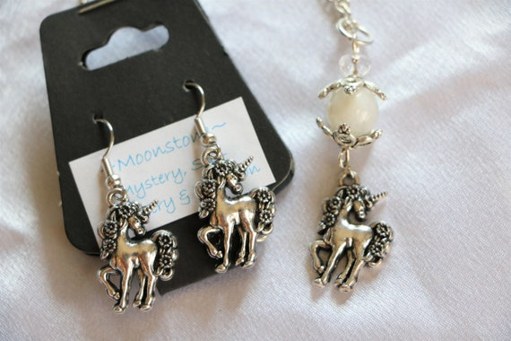 Unicorn Moonstone Crystal Stone Necklace and Earring Set