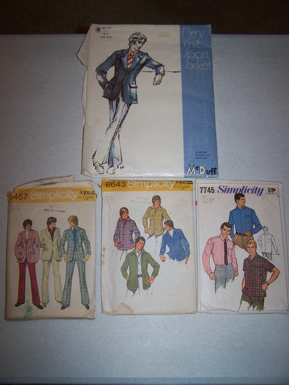 Vintage homme de couture motifs moh (71) & simplicité 5457 (72), 6643 (74), 7745 (68)