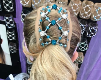 Fancy Beaded with Turquoise crystals hair clip for fine and short hair. Available in larger size.