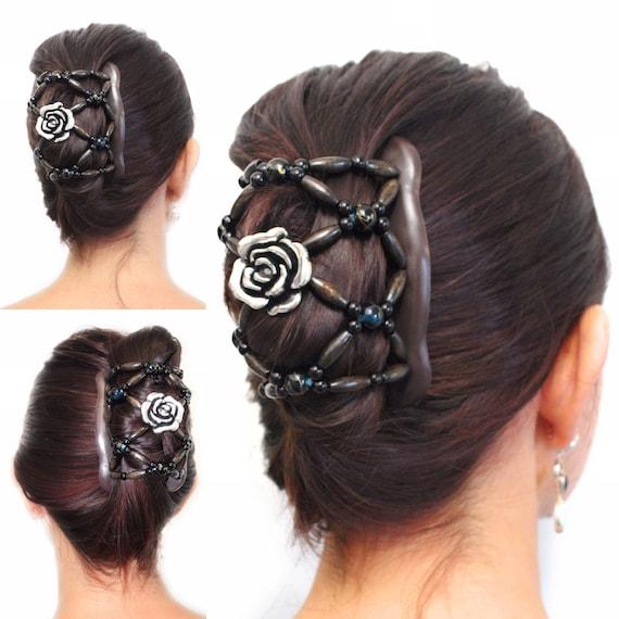 black beads metal double elastic stretch strechy hair comb updo bun maker