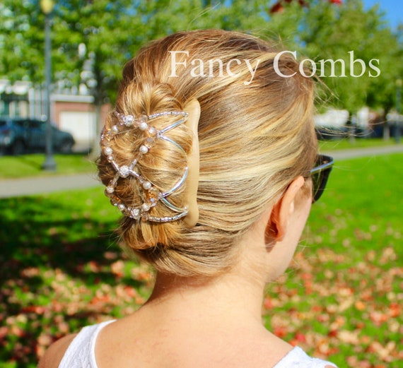 Large Oval Hair Bun Holder With Double Spiral