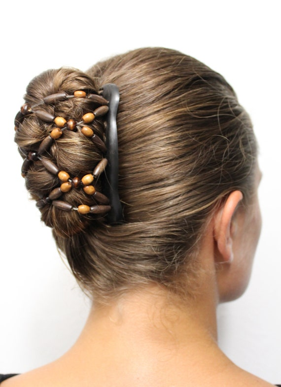 Wooden Hair Bun Maker Hair Clip Double Comb With Wooden Etsy