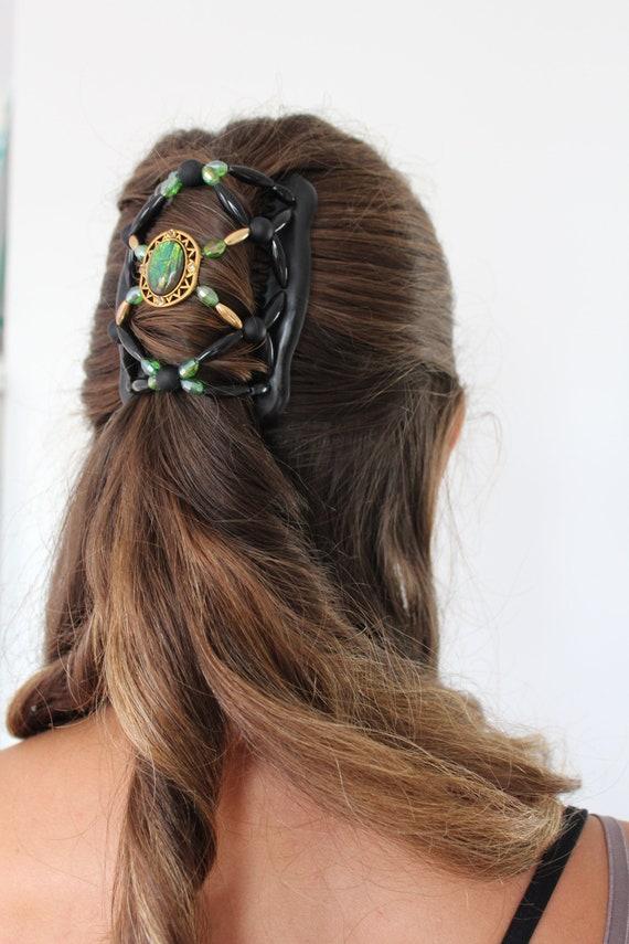 2 stücke magische doppelte haare kämmen perlen haarspangen stretchy haar
