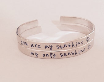 You are my sunshine, my only sunshine cuff bracelet SET  - hand stamped cuff - mother daughter or friends - besties - great gift