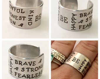 BE happy, brave strong kind inspirational ring cuff   - hand stamped ring - very sturdy ring - great gift - fun piece of jewelry