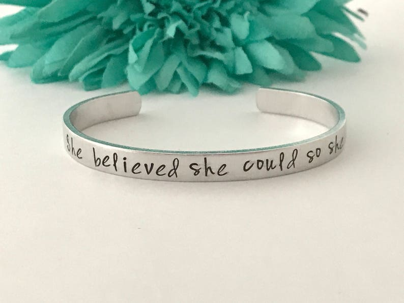 She believed she could so she did bracelet inspirational hand image 0