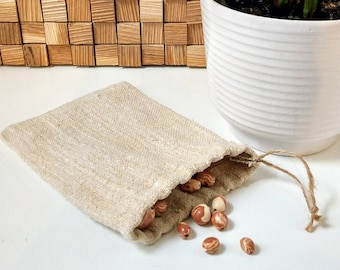 Gift Bag from Antique Hemp Fabric / Handwoven drawstring bag / Grainsack gift wrap