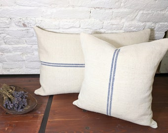 Grain sack pillow cover, authentic antique european linen, vintage hemp fabric, blue stripes, french style, farmhouse, cottage, costal