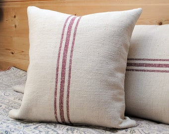 grain sack style pillow cover. patches
