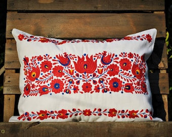 Vintage Transylvanian Hand Embroidered Pillow Cover/Handwoven Linen/hungarian traditional embroidery/Matyo