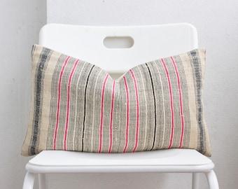Hmong Striped Lumbar Pillow Cover