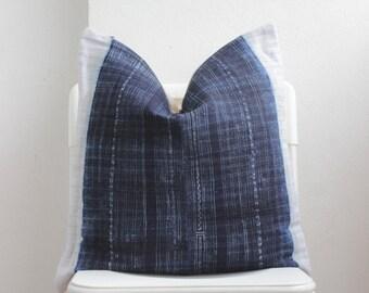 Hmong Hemp Batik Indigo Pillow Cover ID5