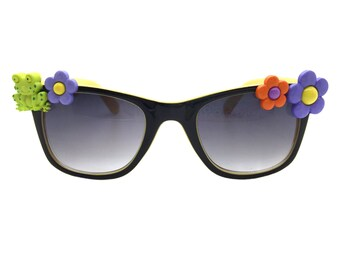 Women's Black and Yellow Embellished Sunglasses with Hand-Applied Green Frog and Multi-Color Flowers 100% UV Protection