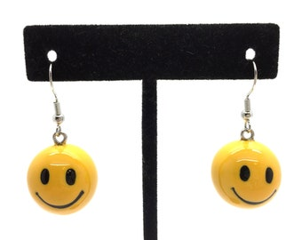 870eeab3c Yellow Smiley Face Earrings, Happy Face Earrings, Emoji Earrings, Handmade  Earrings, Jewelry, Hand Painted, Gift Box, Resin