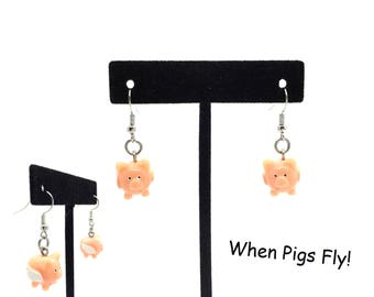 "Women's Handmade ""When Pigs Fly"" 3D Pink Pig Earrings with Hand Painted Details. Shepherd's Hooks. Resin. Gift Box is Included!"