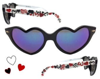 761128b4908 Women s Valentine s Day Heart Sunglasses with Hand Painted Red