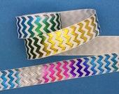 Chevron Grosgrain Ribbon 7 8 quot 22mm, Foil Ribbon, Zigzag Ribbon, Rainbow Ribbon, Hair Bow Ribbon, Sold by the Yard