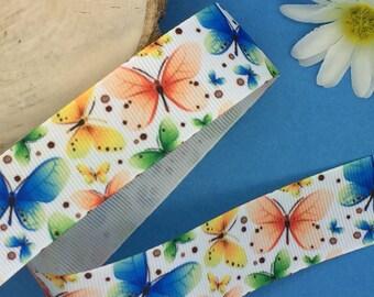 Spring Ribbon Butterfly Grosgrain Ribbon 1 25mm Hair Bow Ribbon Butterfly Ribbon Sold by the Yard Butterflies