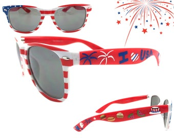 6b2f29c0a22 Women s 4th of July American Flag Sunglasses with Hand Painted Fireworks
