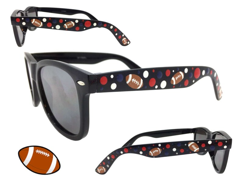 Hand BlueRedAnd White Black Football Women's Dots Themed Sunglasses Polka Navy 400 Protection Painted Uv With TJ315ulcFK