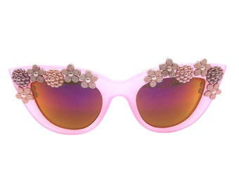 Women's Pink Cat Eye Sunglasses with Hand-Applied Pink and Purple Flower Embellishments UV 400 Protection