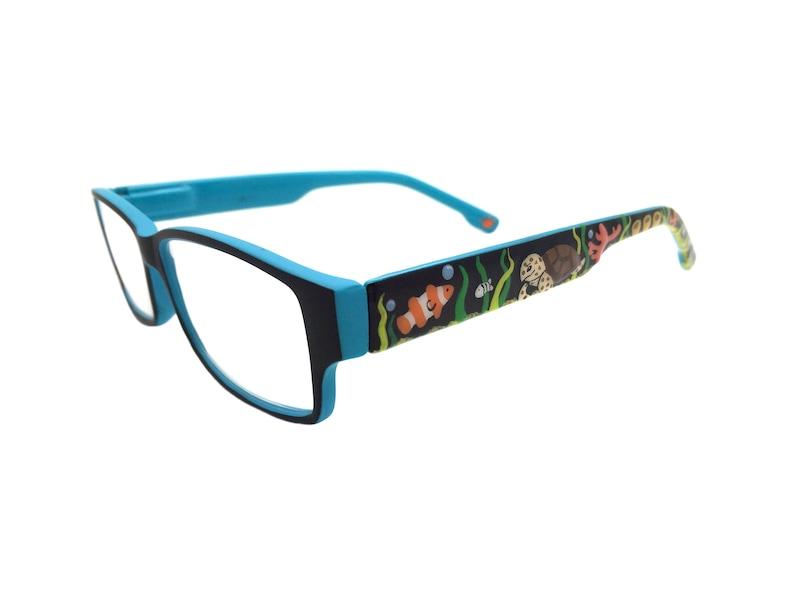 Hand Painted +1.50 Reading Glasses Eyeglasses Coral Sea Turtle Readers +1.5 Seaweed Blue Bubbles Fish