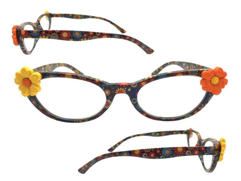2e3372bac1 Womens Multi-Color 2.00 Strength Cat Eye Reading Glasses