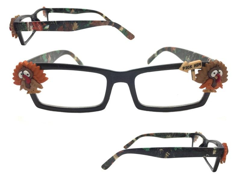 Camouflage Eyeglasses +2.25 Strength Thanksgiving Reading Glasses Cheaters Reading Glasses Turkey Readers Eyewear Spectacles Fall