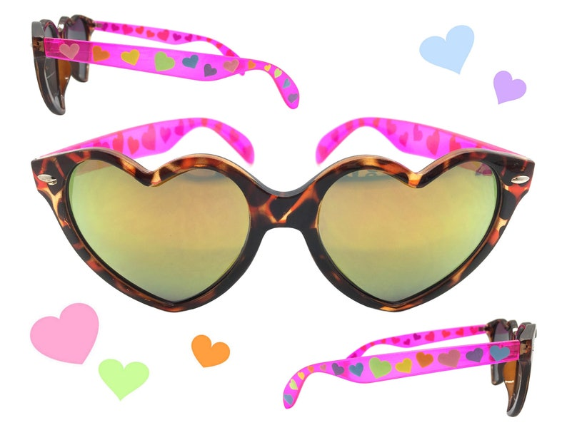64cb493567c Womens Tortoise and Pink Heart Sunglasses for Valentines Day