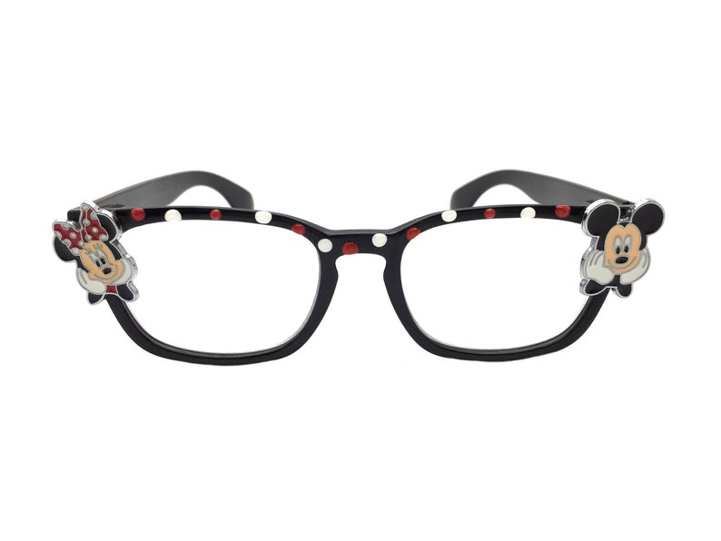 Reading Glasses +3.00, Mickey Mouse, Minnie Mouse, Hand Painted Polka Dots, Optical Quality