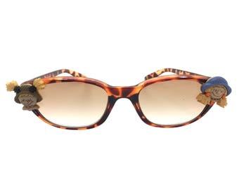 Women's Tortoise 2.0 Strength Fall Themed Reading Glasses with Tinted Lenses and Hand-Applied Scarecrow Embellishments