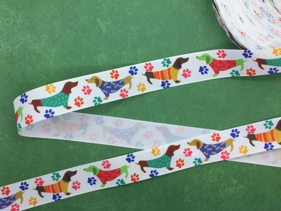 """Grosgrain Sausage Dog with Paw Prints Ribbon 7//8/"""" 22mm"""