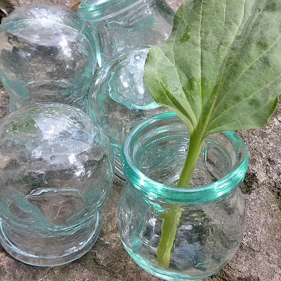 Vintage clear green glass cupping jar for modern home garden Medicine tool as flower holder and floral vase 1980s