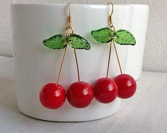 Berries jewelry Red ripe cherry earrings Red fruity Folk beautiful earrings Czech glass Dangly boho Rustic gift idea Summer gift for her