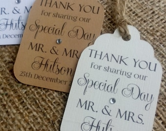 "10 Personalised Wedding Favour Gift Tags ""Thank you"" Guest Label with a sparkly diamante"