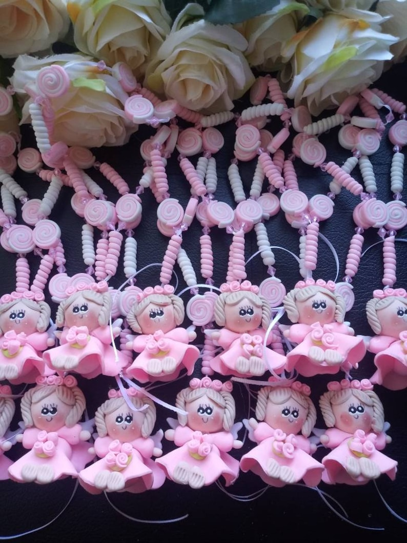 12 Rosaries Hanging Baptism  First Communion party Favors //12 clay rosary favors