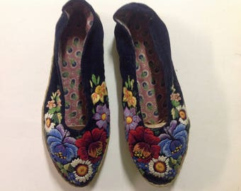 Embroidered folk slippers, Estonia