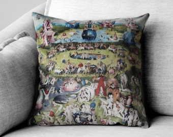 """the garden of earthly delights - 18"""" velveteen pillow case - Hieronymus Bosch, 1480 - 1505"""