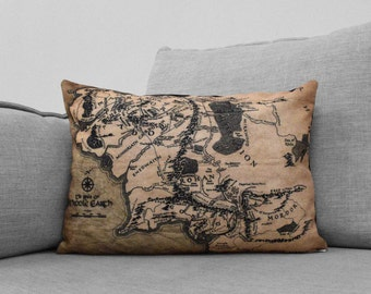 """LIMITED EDITION the shire - 14"""" x 20"""" CANVAS pillow case - lord of the rings map"""