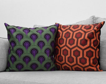 the shining - set of 2 - square velveteen pillow cases - overlook hotel // carpet patterns - room 237 & hallway