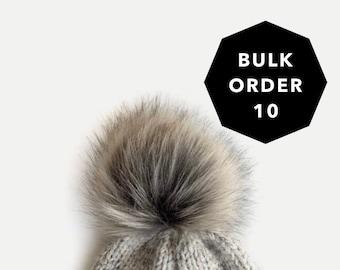 BULK ORDER 10 | XL Faux Fur Pom with Detachable Snap for Knit Crochet Hat | Raccoon